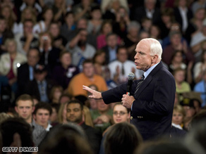 McCain called for the crowd to cool its rhetoric Friday.
