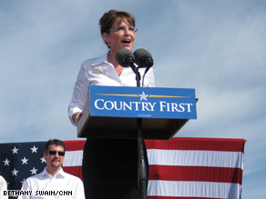 Palin stumped in traditionally-red Virginia Monday.