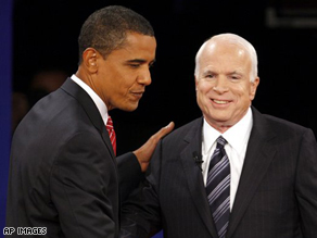 Senators Barack Obama and John McCain shake hands at the start of the third presidential debate.