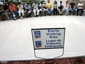 Voters sit in line for early voting on Friday in Boynton Beach, Florida.