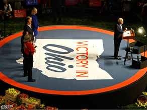 John McCain holds a campaign rally in Ohio on Friday, part of a two-day bus tour through the crucial swing state.