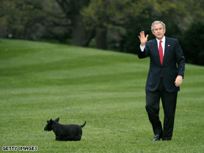 A happier Barney, with President Bush.