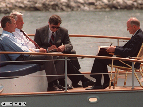Brent Scowcroft, right, with former President George H.W. Bush, former Russian President Boris Yeltsin, and an interpreter in 1992.