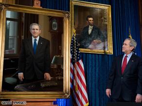 Bush got a look at a new presidential portrait Saturday.