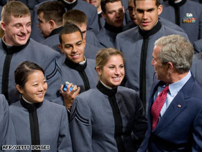 President Bush says farewell to the cadets at West Point.