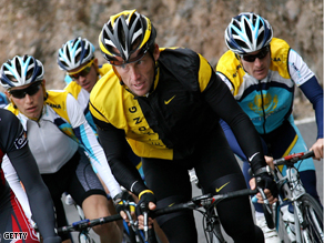 Lance Armstrong cycles during a training session in the Spanish Canary Island of Tenerife.