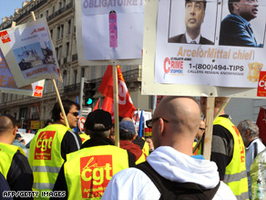 Workers protest in Marseille to demand a boost to wages and greater protection form the crisis.