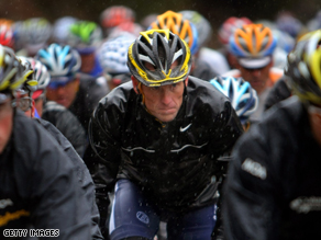 Lance Armstrong's bike was stolen after he competed  in the first day of the Amgen Tour of California.