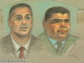 An artist's sketch shows Ignacio Ramos, left, and Jose Compean.