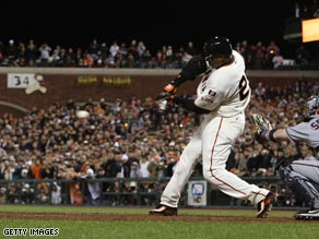 Bonds in 2007 hitting his 756th homerun which put him top of the all-time homerun hitters.