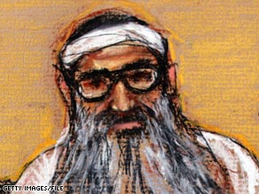 Khalid Sheikh Mohammed is shown in a courtroom sketch at Guantanamo Bay in January.