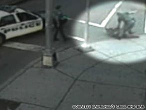 The beating was captured on surveillance cameras outside Lawrence's Grill and Bar in Passaic, New Jersey.