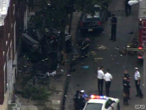 Four people were killed after a car fleeing police struck a home in Philadelphia, Pennsylvania, on Wednesday.