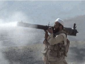 A photo purporting to show Moez Garsallaoui firing a rocket launcher on the Afghanistan-Pakistan border.