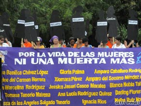 Nicaraguan women hold up signs shaped like the female form during a 2008 protest against the anti-abortion law.