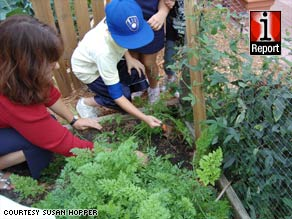 Susan Hopper of Tampa, Florida, uses her garden to teach her students where food comes from.