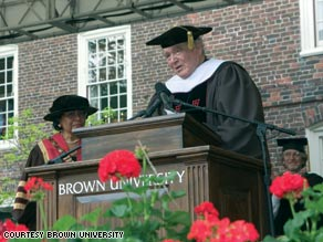 Sidney Frank, shown accepting an honorary degree in 2005, gave $100 million to Brown University.