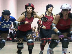 Beth Hollis, second from left, is a librarian who's become a MegaBeth, a roller derby dynamo.