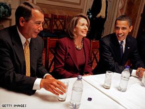President-elect Barack Obama talks with Rep. John Boehner and House Speaker Nancy Pelosi on Monday.
