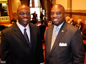 Peter Groff, left, and Terrance Carroll are the new leaders of Colorado's legislature.