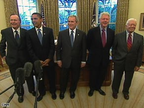 Barack Obama meets with President Bush and past presidents in the Oval Office on Wednesday.