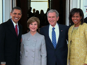 The Obamas met with the Bushes at the White House on Tuesday after a morning church service.