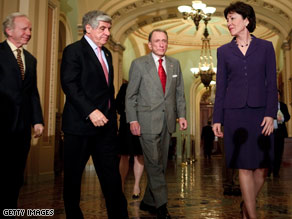 Senators worked late into the night to trim billions from the original stimulus bill.
