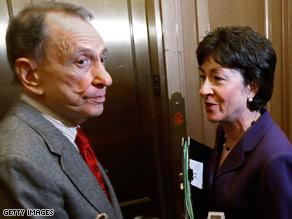 GOP Sens. Arlen Specter and Susan Collins leave a meeting Friday night in Sen. Harry Reid's office.