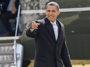 President Obama arrives at the White House on Monday after a weekend in Chicago, llinois.