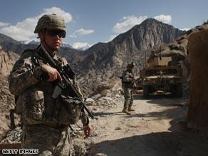 U.S. soldiers patrol in Gandalabog province, Afghanistan.