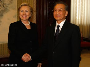 U.S. Secretary Of State Hillary Clinton meets Chinese Prime Minister Wen Jiabao in Beijing Saturday.