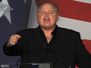 Conservative talk show host Rush Limbaugh energizes crowd of supporters in CPAC keynote speech.