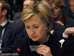 U.S. Secretary of State Hillary Clinton attends Gaza donors conference in Egypt on Monday.
