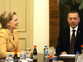 Secretary of State Hillary Clinton meets Saturday with Turkish Prime Minister Recep Tayyip Erdogan.