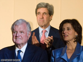 Sen. Ted Kennedy, left, with his wife, Victoria, and Sen. John Kerry at the Kennedy Center on Sunday night.