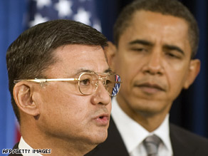 President Obama and Veterans Affairs Secretary Eric Shinseki, seen here last month.