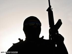 A member of the Mexican Federal Police patrols in Ciudad Juarez during a recent operation to fight drugs.
