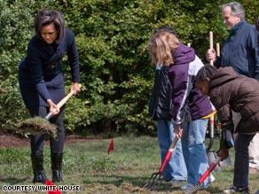 Washington's Bancroft Elementary School students help first lady Michelle Obama break ground on the garden.
