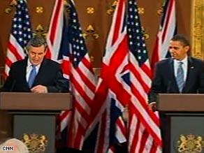 British Prime Minister Gordon Brown, left, and President Obama speak in London, England, on Wednesday.