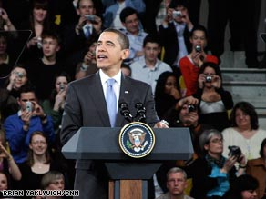 President Obama delivers remarks at a town hall meeting Friday in Strasbourg, France.