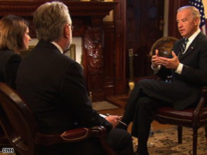 Vice President Joe Biden sits down for an interview with CNN's Gloria Borger and Wolf Blitzer on Tuesday.