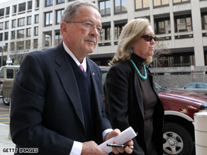 Former Alaska Sen. Ted Stevens and his wife, Catherine, arrive Tuesday at the federal courthouse in Washington.