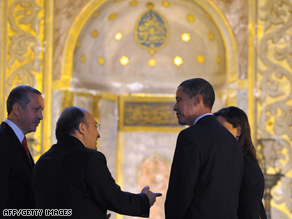 Obama (second right) at the Hagia Sophia in Istanbul during his bridge-building and sight-seeing trip to Turkey.