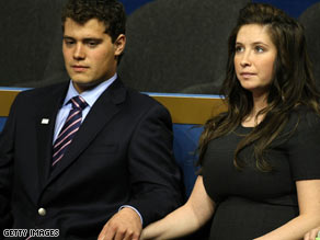 Gov. Palin's father reportedly told a magazine that he wished Levi Johnston would buy some diapers for his infant grandson.  Johnston is pictured here sitting with Bristol Palin last year at the Republican National Convention.
