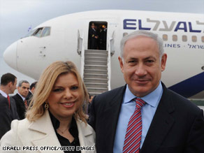 Israeli Prime Minister Benjamin Netanyahu and his wife, Sara, arrive in Washington, D.C., on Sunday.