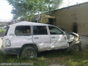 This car driven by a contractor was hit in Kabul, Afghanistan, which led to a deadly shooting.