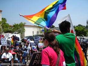 A crowd protests the court ruling upholding Proposition 8 in Los Angeles, California, Tuesday.