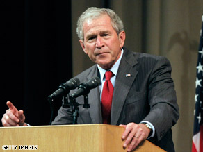 Former President George W. Bush defended his administration in speech Thursday in Michigan.