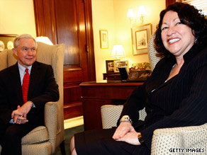 Sen. Jeff Sessions, the judiciary panel's ranking Republican, meets with Judge Sonia Sotomayor.