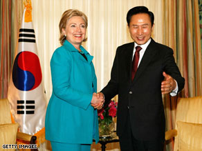 Secretary of State Hillary Clinton meets South Korean President Lee Myung-Bak in Washington on Monday.